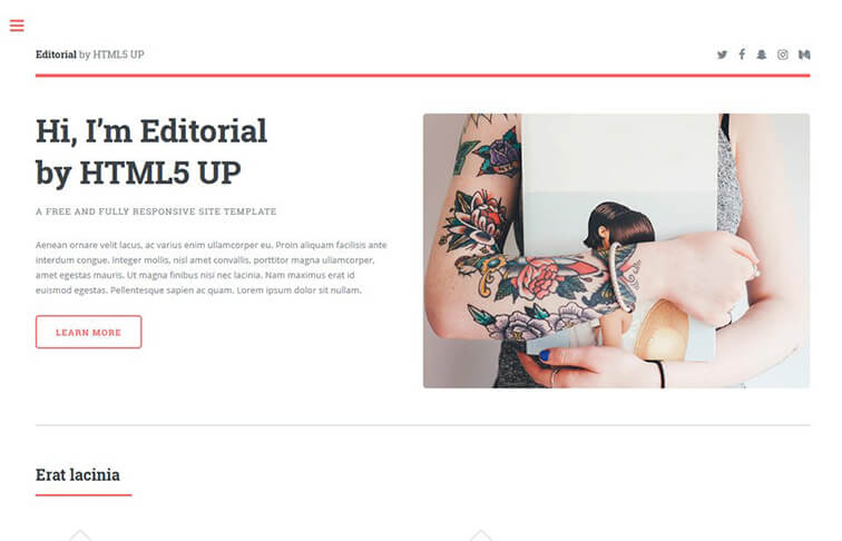 Editorial HTML5 CSS3 Website