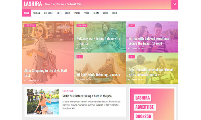 Lashira Blogger Template
