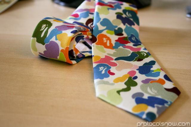 A Bathing Ape Bape multicamo tie