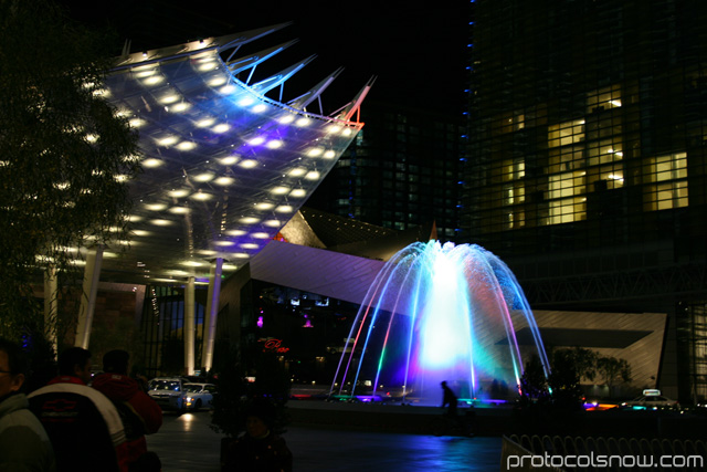Aria CityCenter complex Las Vegas resort casino hotel WET design Lumia water fountain
