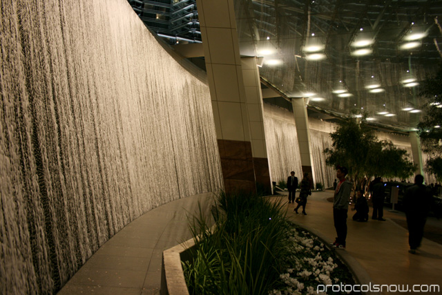 Aria CityCenter complex Las Vegas resort casino hotel WET design Lumia water wall waterfall