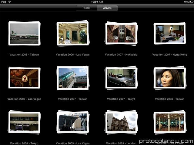iPad Apple tablet photo gallery app