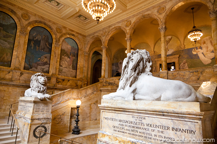 Boston Public Library entrance hall lions stairs McKim building