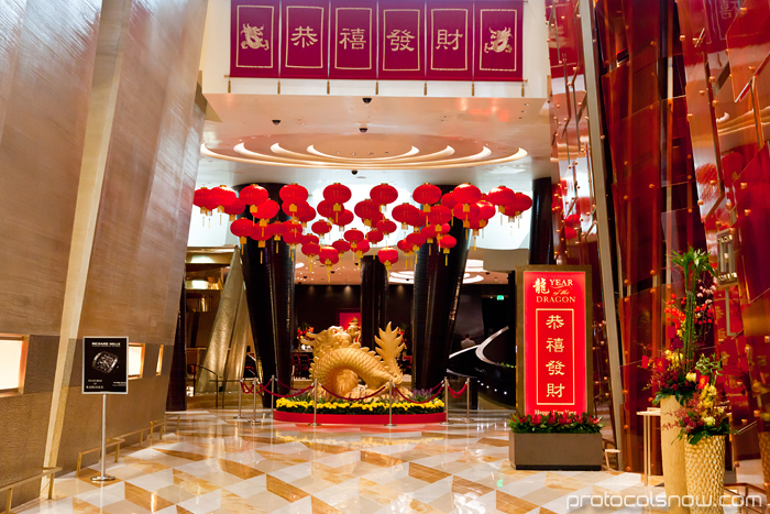 Las Vegas Chinese New Year dragon decorations celebration Aria hotel casino