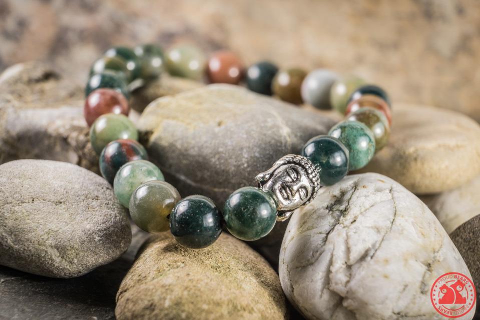 Jade Bead Bracelet With Silver Buddha Head