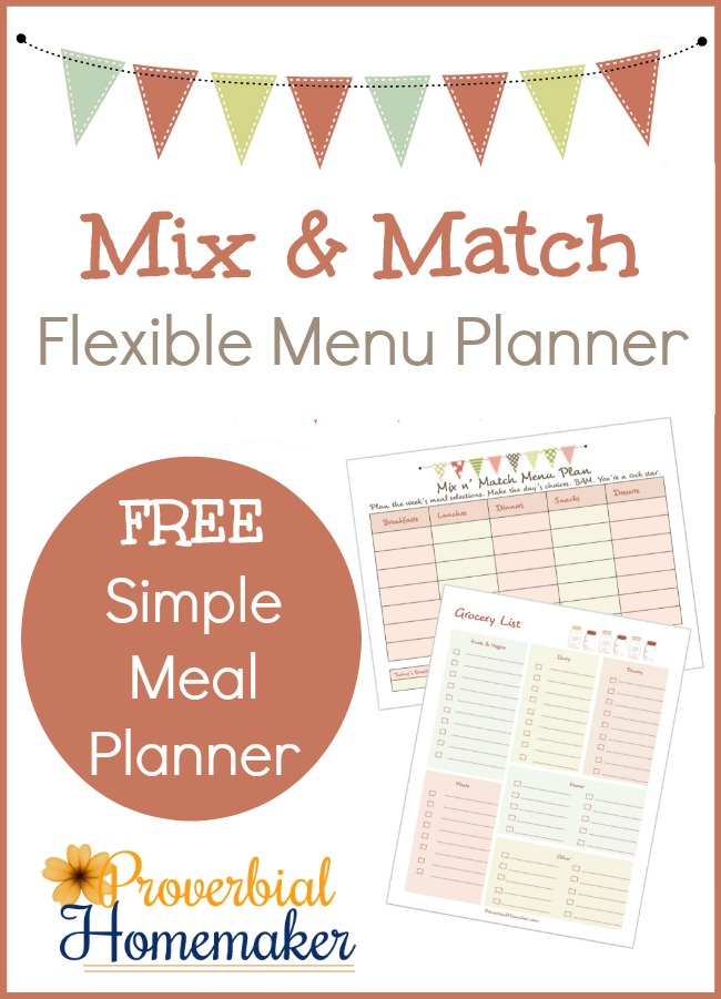 FREE Mix  Match Flexible Menu Planner - Proverbial Homemaker - weekly dinner planner with grocery list