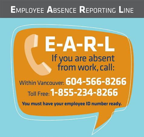 EARL Employee Absence Reporting Line Providence Health Care