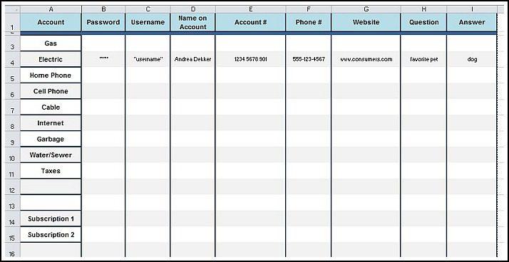 password log template pdf - Prune Spreadsheet Template Examples