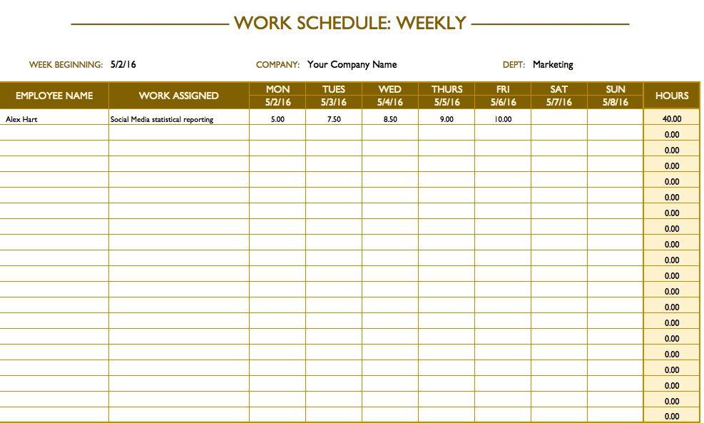 weekly schedule template word sample - Prune Spreadsheet Template