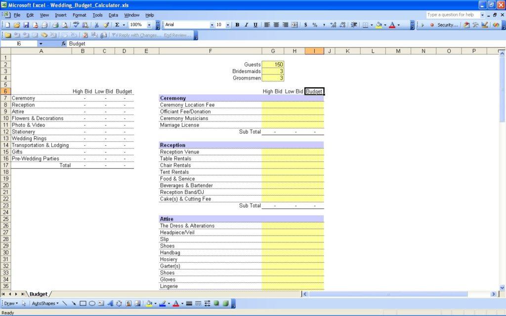 Wedding Budget Spreadsheet Template - Prune Spreadsheet Template