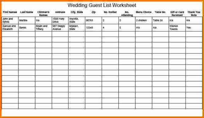 wedding guest list manager excel sample - Prune Spreadsheet Template