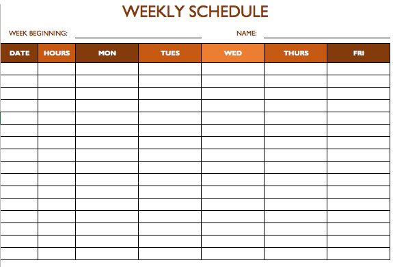 weekly schedule template excel sample - Prune Spreadsheet Template