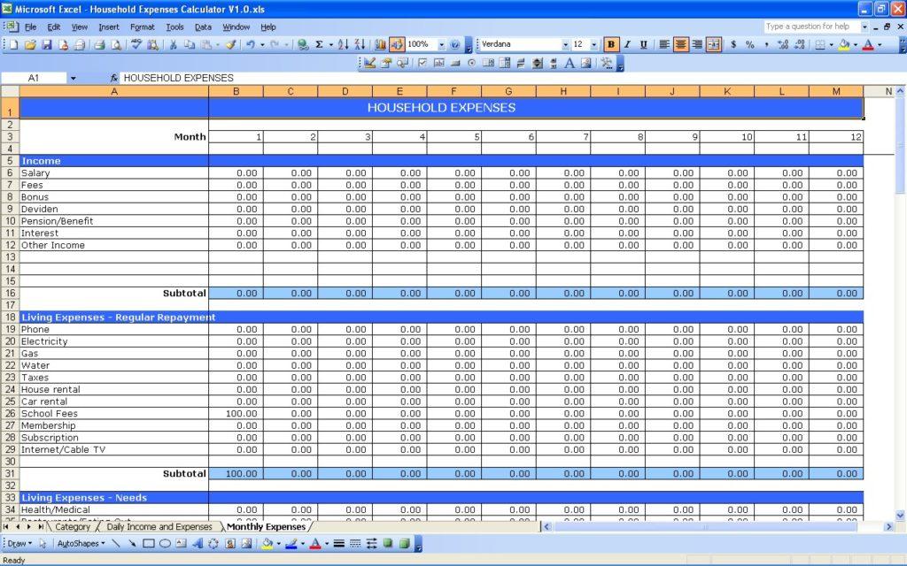 household budget template printable sample - Prune Spreadsheet