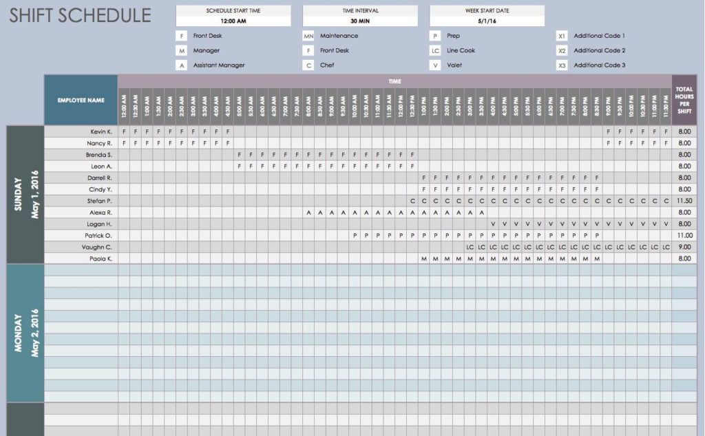 Monthly Employee Shift Schedule Template and Weekly Employee Shift