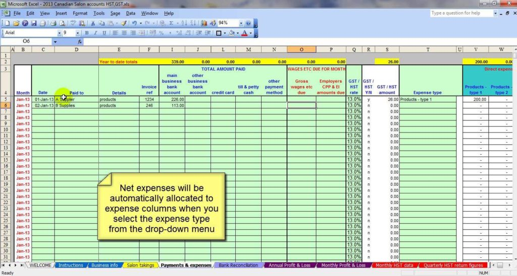 Small Business Accounting Spreadsheet Template Free and Microsoft