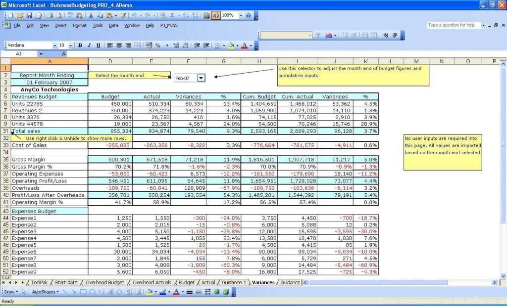 Financial Spreadsheet for Small Business - Prune Spreadsheet