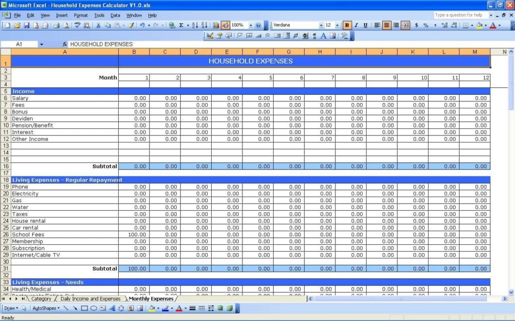Daily Expense Tracker Spreadsheet And Daily Spending Tracker