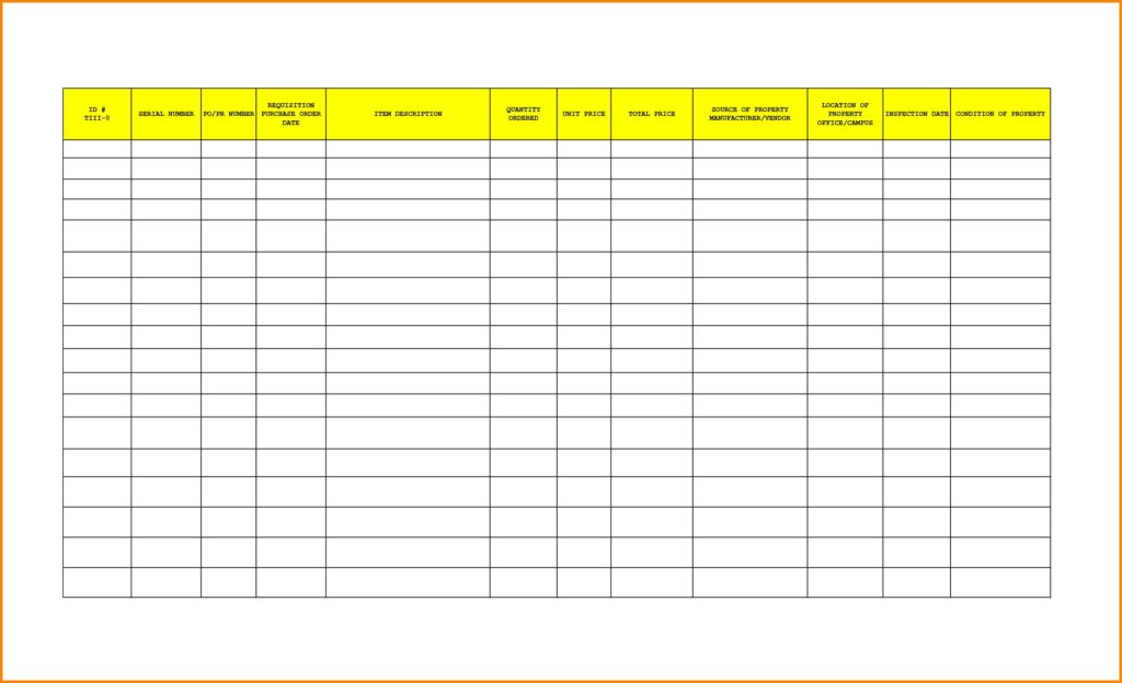 Excel Inventory Template With Formulas And Office Furniture