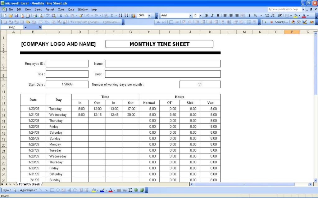 Kronos Time Clock Cut Sheet and Free Excel Timesheet Template