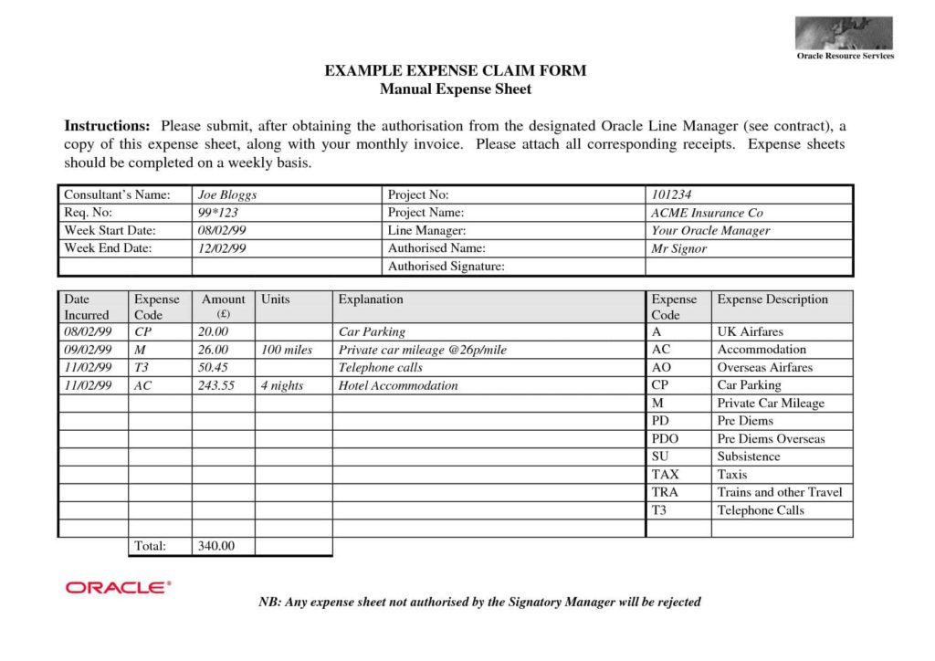 Sample Business Expense Report And Employee Expense Report Template