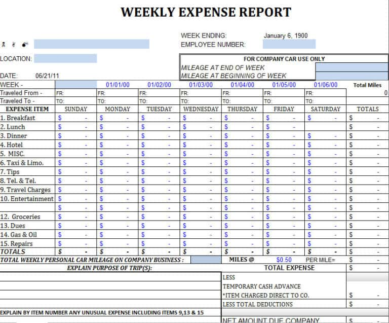 Business Travel Expense Report Template - Prune Spreadsheet Template