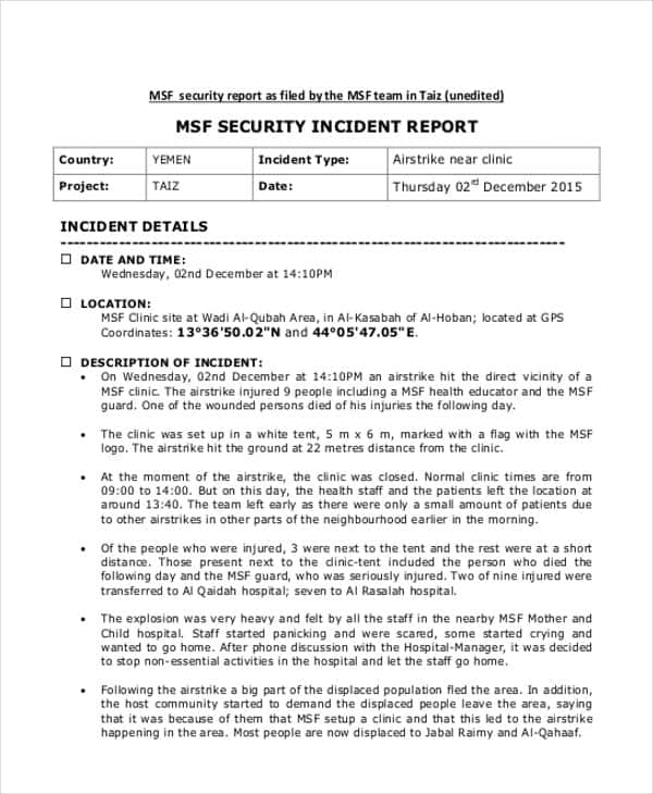Example Of A Security Officer Incident Report And Security Incident