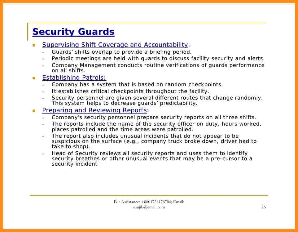 Security Guard Incident Report Writing Example And Security