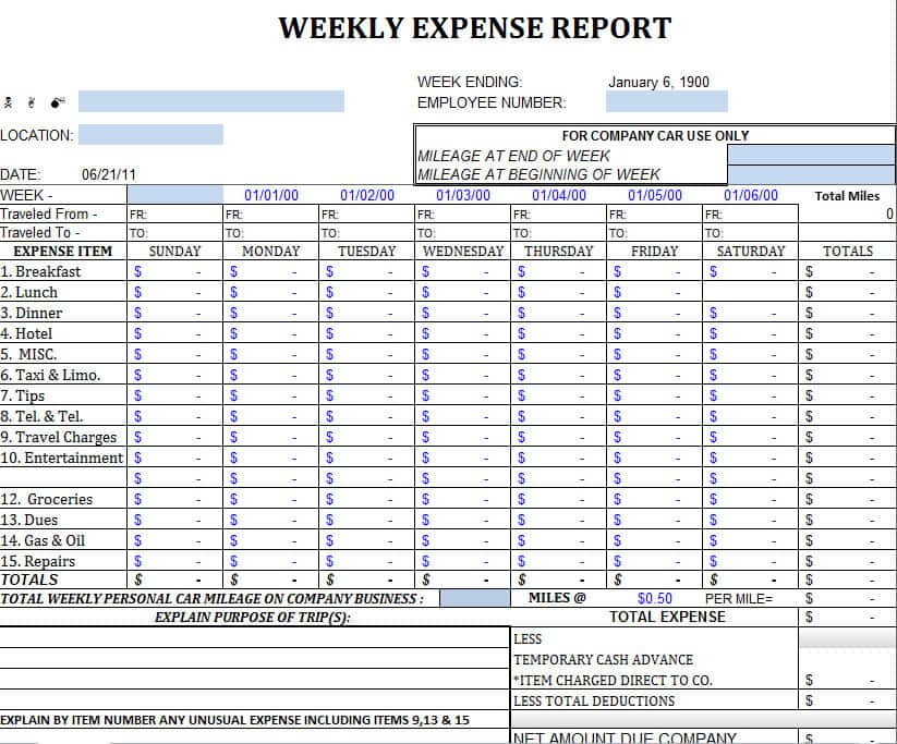 Travel Expense Report Sample And Sample Itemized Expense Report