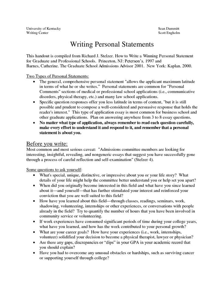 Free Sample Personal Statement For Law School And Sample Personal