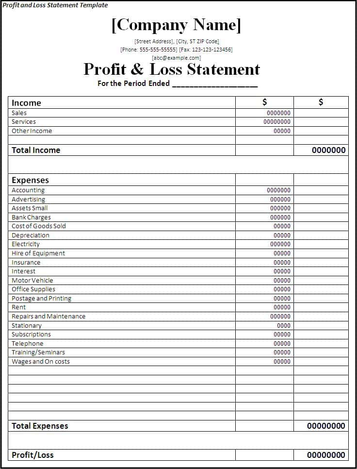 Income Statement And Balance Sheet Template Excel And Small Business