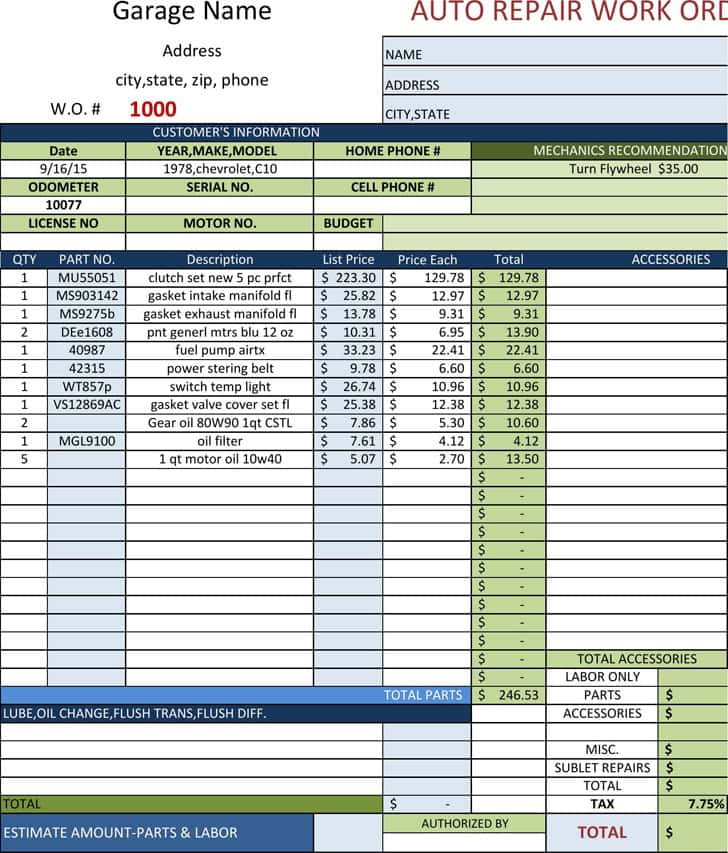 Auto Repair Invoice Software Free Download And Auto Repair Work