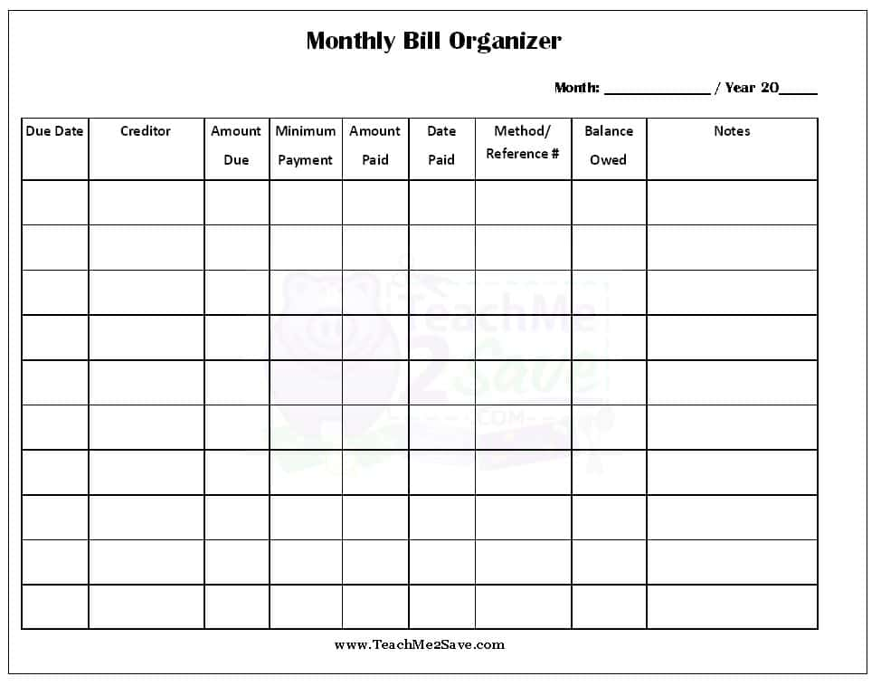 Monthly Bill Template Free Printable And Simple Monthly Budget