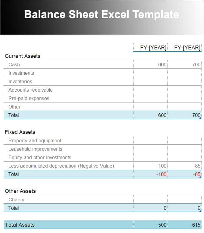 Download Balance Sheet Template And Pro Forma Balance Sheet Template