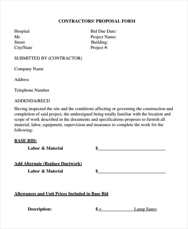 Free Printable Contractor Bid Forms And Construction Bid Proposal