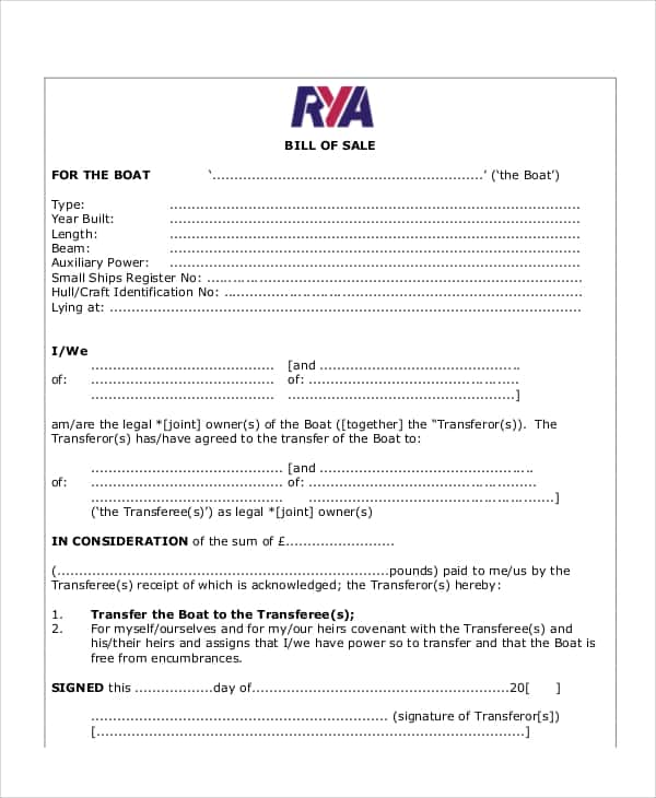 Bill Of Sale Template For A Boat - Prune Spreadsheet Template Examples