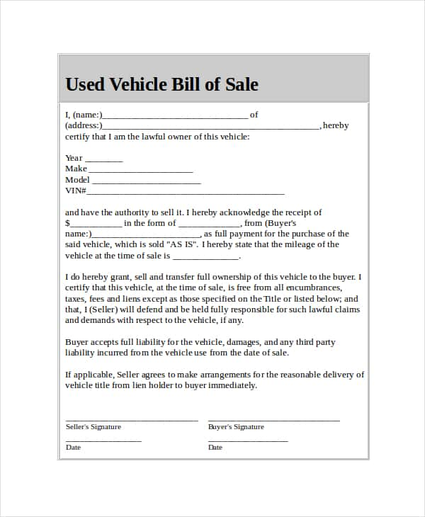 General Bill Of Sale Template Word And Vehicle Bill Of Sale Pdf