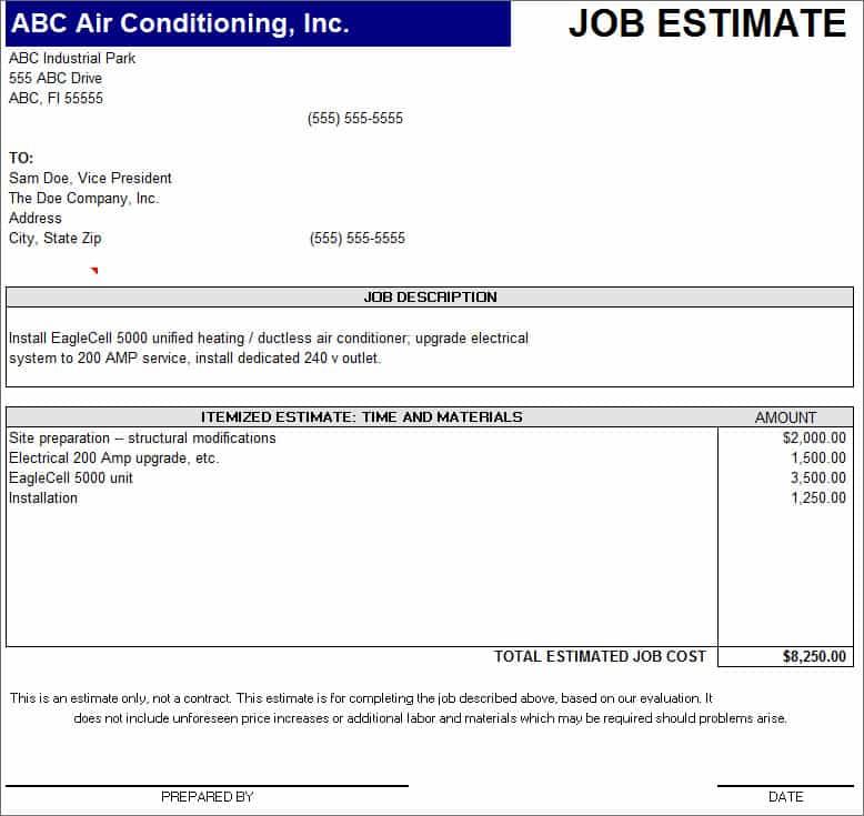 Free Construction Estimate Forms Templates - Prune Spreadsheet