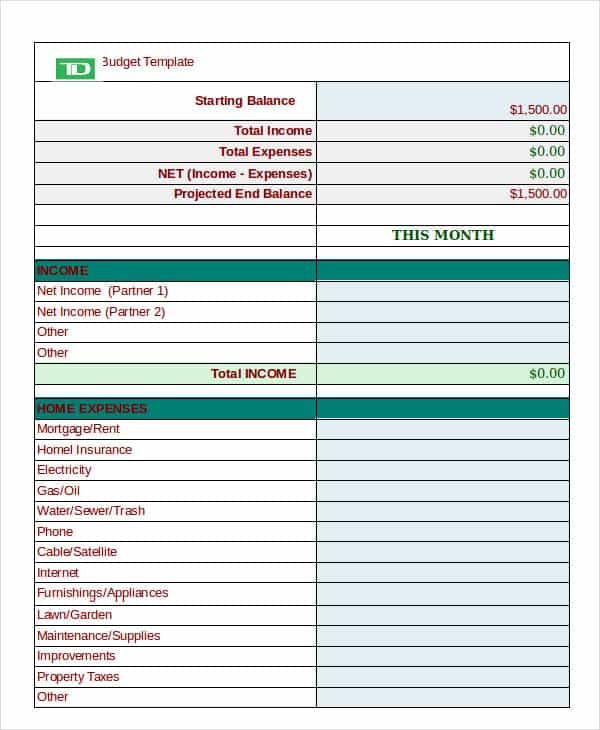 Personal financial budget worksheet and personal daily expense sheet