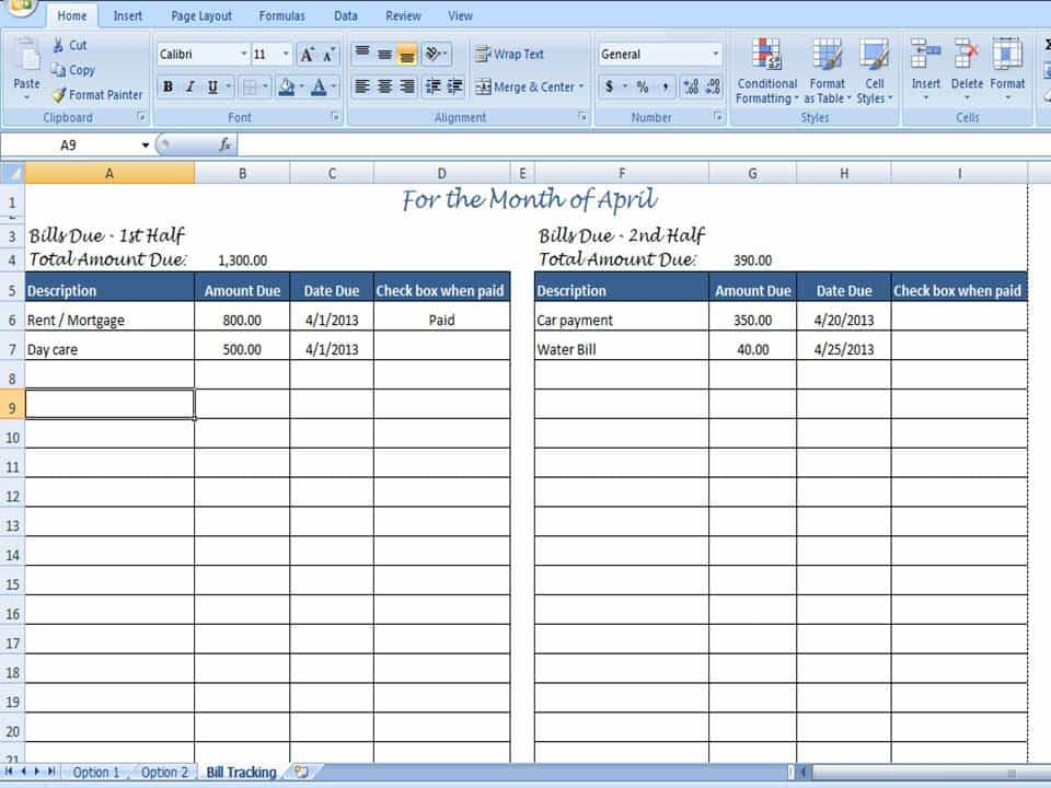 Monthly Bill Organizer Template Excel And Financial Planning
