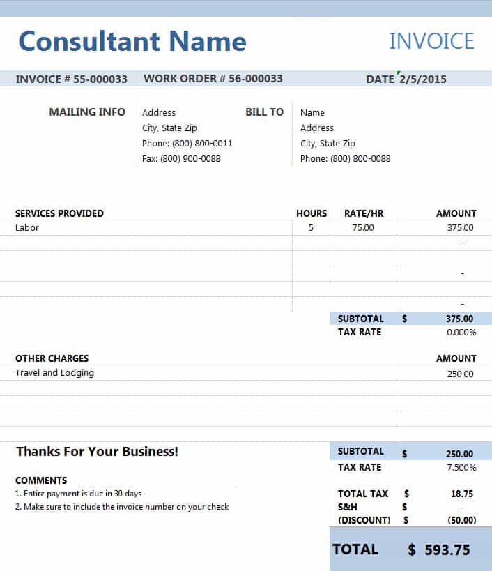 Invoice Consulting Services Template And Consultant Billing Invoice