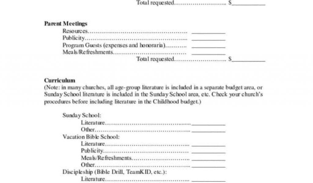 Church Income Expense Statement Template And Small Church Budget