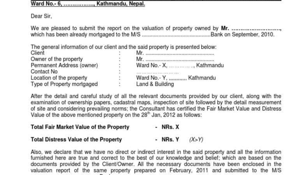 Sample Valuation Report Freeletterfindbymortgage valuation report