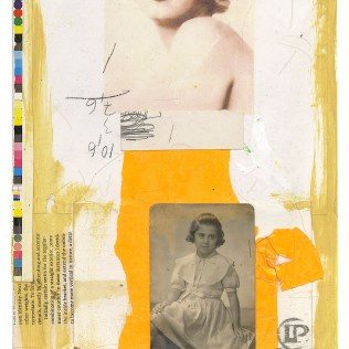 "Lars Pryds: ""A Couple o' Girls #1"", 2013. Collage på papir, 28 x 23 cm."