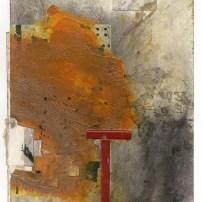 """Lars Pryds: """"Rødt T (Ford)"""", 2013. Collage på papir, 28 x 23 cm."""
