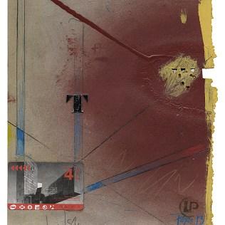 """""""T (Barcelona)"""", 2013. Acryl/collage på papir, 28 x 23 cm. Foto: Lars Pryds."""