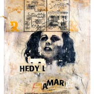 "Lars Pryds: ""Hedy Lamarr #1: Torpedo in a Piano"", 2003. Akryl/collage på papir, 32x25 cm."