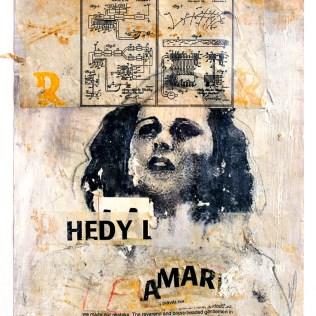 "Lars Pryds: ""Hedy Lamarr #1: Torpedo in a Piano"", 2003. Akryl/collage på papir, 32x25 cm."