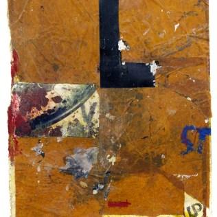 "Lars Pryds: ""LST"", 2012. Acryl/collage på papir, 28 x 23 cm."