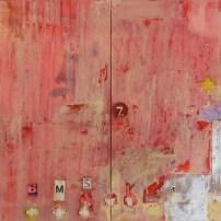 "Lars Pryds: ""12 plustegn"", 2007. Maleri/collage 100x160 cm."