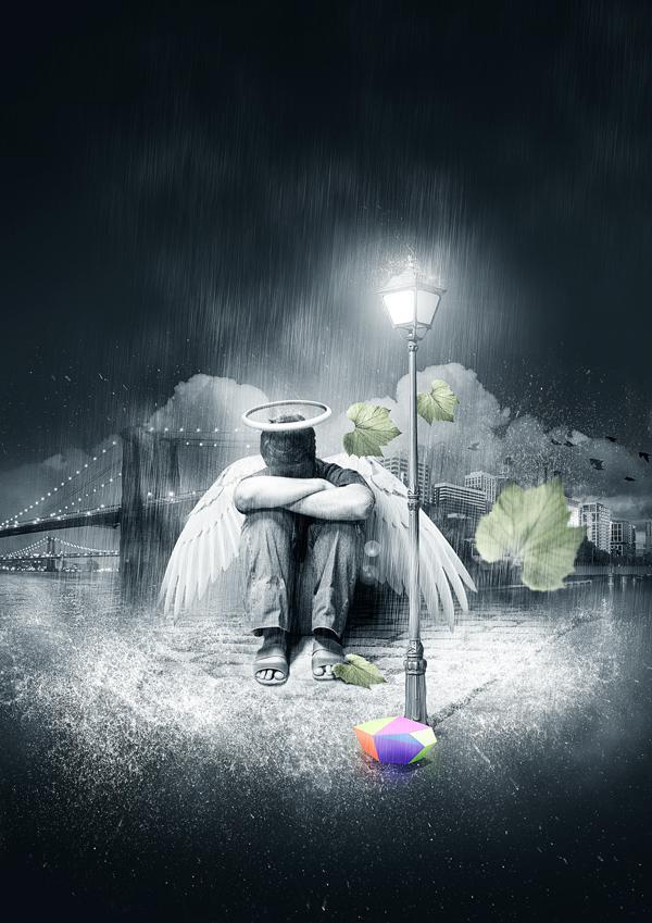 Falling Into Water Wallpaper Create Photoshop Rain Effect Tutorials Psddude